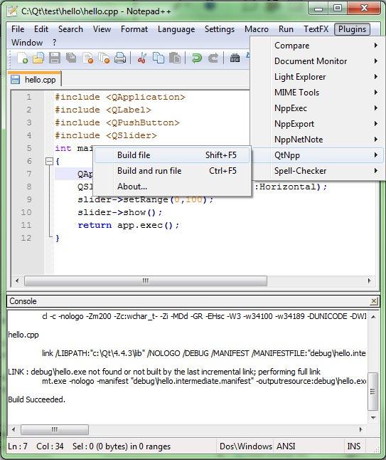 QtNpp: Notepad++ Plugin to build Qt Applications | Madhat Alsoos